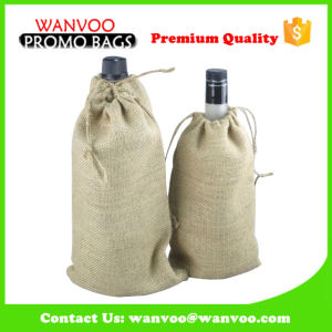 Printed Drawstring Jute Wine Bag for Gift pictures & photos