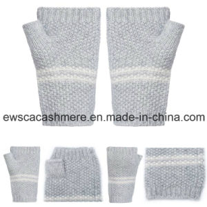 Women′s Pure Cashmere Finger-Less Gloves with Stripes pictures & photos