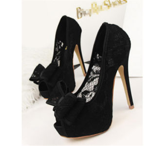 Beautiful Lace Pump High Heels Women Shoes Sandal pictures & photos