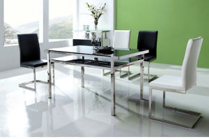 Clear Tempered Glass Stainless Steel Finished Dining Table pictures & photos