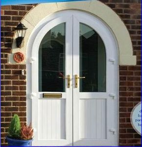 Conch 60 Arch Top 2 Sashes Casement PVC/UPVC Door pictures & photos