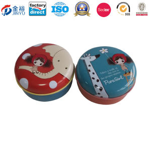 Round Shaped Metal Cosmetic Box with Custom Design pictures & photos