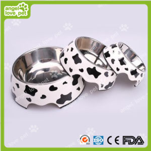 Classical Cow Pattern Melamine&Stainless Steel Pet Dog Bowl pictures & photos
