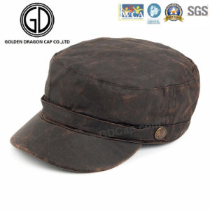2016 High Quality Washed Denim Army Hats Military Cap with Leather Belt pictures & photos