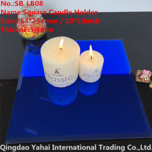 4mm Large Square Blue Glass Candle Holder pictures & photos