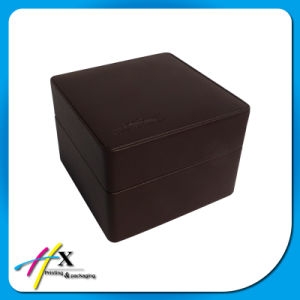 Luxury Blind Embossing Logo Leather-Surface Wooden Watch Storage Box pictures & photos