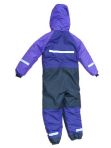 Purple Hooded Reflective Waterproof Jumpsuits pictures & photos