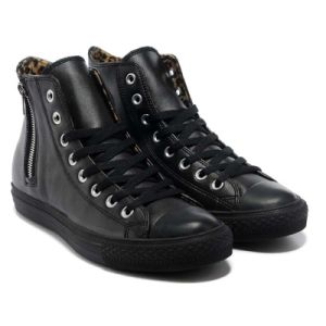 Fashion High Ankle Black Leather Plimsolls Rubber Sole Vulcanized Shoes pictures & photos