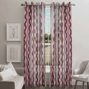 Jacquard Sheer Grommet Panel Window Curtain (HR14WT088) pictures & photos