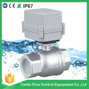 Dn40 1 1/2 Inch DC12V Bsp NPT Stainless Steel Electric Water Motorized Ball Valve pictures & photos