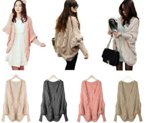 Thick Cape Batwing Sleeve Knit Loose Casual Wraps Sweater Tops pictures & photos