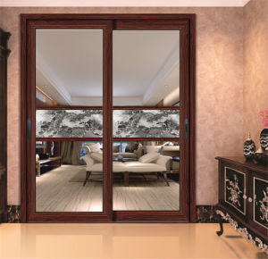Decorative Aluminum Sliding Window with Art Tempered Glass pictures & photos