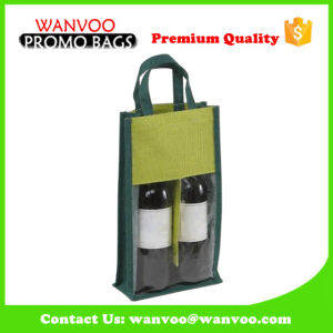 Promotional Jute Wine Bag with Clear Window pictures & photos