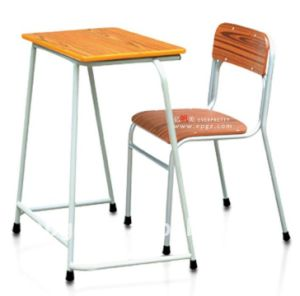 School Furniture Wooden Fixed Single Desk and Chair (SF-01) pictures & photos