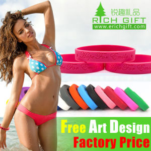 Factory Directly Wholesale Customized Green Silicone Wristband with Printed Logo pictures & photos