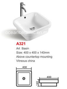 Square Hot-Sale Single-Bowl Artificial Stone Art Wash Basin A321 pictures & photos