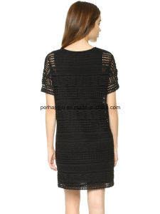 High Quality Short Sleeve Hollow out Dress Ladies Dress pictures & photos