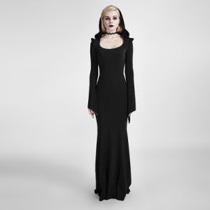 Q-296 Gothic Mermaid Bodycon Fashion Gowns Sexy Party Evening Dress with Hood pictures & photos