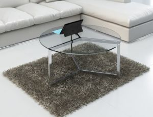 Three Stainless Steel Legs Glass Coffee Table for Home (CCT-013)