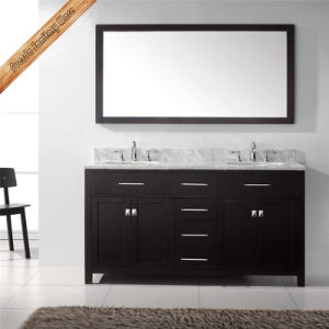 "Fed-1049 40"" Single Sink Carrara White Marble Top Solid Wood Hot Sales Bathroom Cabinets pictures & photos"