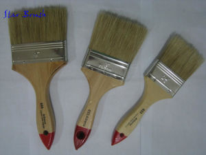 633 White Bristle Paint Brush with Vanished Wooden Handle
