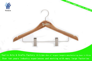 High Quality, Cheap Price and Regular Clothes Bamboo Hanger Ylbm3015-Ntlnbs1 for Supermarket, Wholesaler with Shiny Chrome Hook pictures & photos