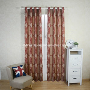 Traditional Red Color Polyester Shrinkage Yarn Curtain Fabric pictures & photos