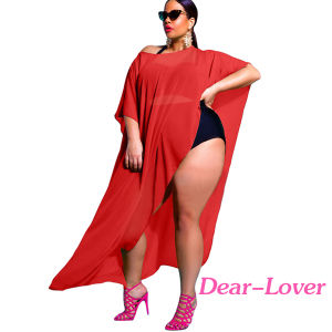Black Draped Plus Size Cover-up Beachwear pictures & photos
