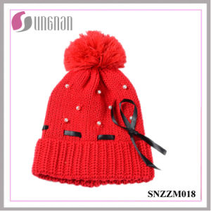 Warm Sweet Girls Pearl Bow Knit Hat Fur Ball Ribbon Wool Cap pictures & photos