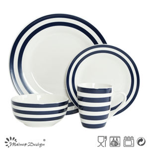 16PCS Porcelain Dinner Set with Blue Decal Strip and Dots Design pictures & photos