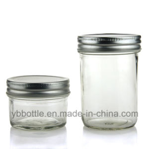 4oz/120ml 8oz/250ml, 16oz/520ml Tapered Glass Bottle Eco Mason Jar Honey/Jam Jar Glass Bottle Ith Gold/Silver/White/Black Metal Lids