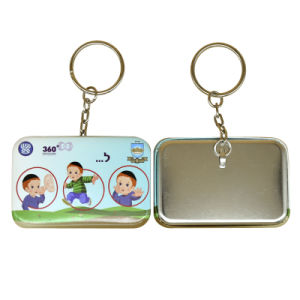 Round Corner Square Metal Key Chain with Client Design pictures & photos
