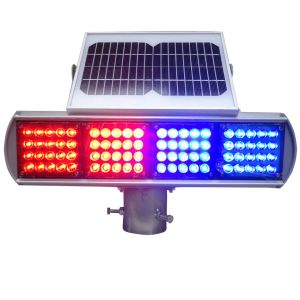 Red Blue Solar LED Traffic Light Blinker Traffic Warning Light