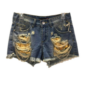 Hole Denim Short Pants Jeans with Metal Chain for Girl