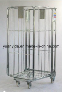 Big Wire Mesh Zinc Plated Supermarket Hand Trolley/Roll Pallet/Roll Container pictures & photos