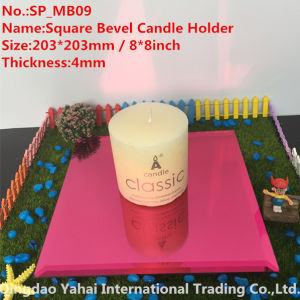 4mm Light Red Bevel Glass Mirror Candle Holder pictures & photos