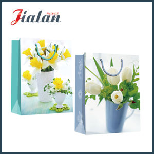 Hand Shopping Pack Gift Paper Bag with Fresh Flowers Pictures pictures & photos