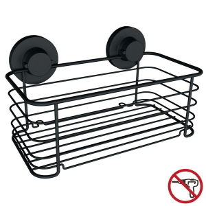 No Drill Bathroom Suction Large Shower Basket in Matt Black