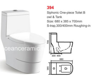 Ceramic Siphonic One-Piece Toilet, Bathroom Sanitaryware 300/400mm Roughing-in pictures & photos