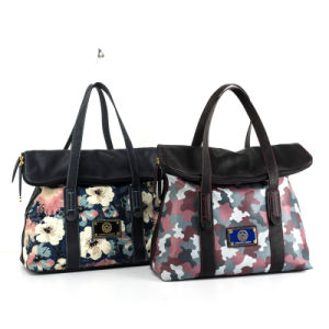 Classical Style Women′s Flower Printed Jeans Leisure Handbag (JF1)