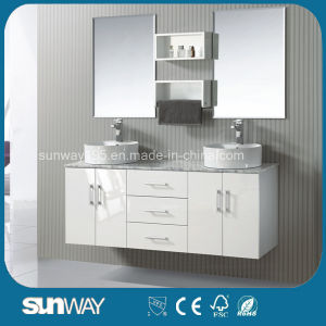 Hot Sale America Style Solid Wooden Bathroom Furniture with Double Sink pictures & photos