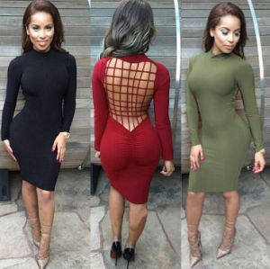 Sexy Unique Fashion Back Hollow out Hot Sale Bodycon Bandage Dress pictures & photos