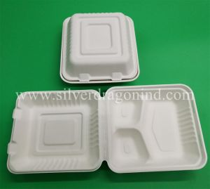 Biodegradable Compostable Sugarcane Bagasse Lunch Box 1000ml, 2comp Box pictures & photos