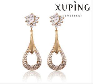 91388 Fashion Elegant CZ Diamond Round 18k Gold-Plated Imitation Jewelry Earring pictures & photos