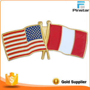 USA and Peru Crossed Friendship Flag Lapel Pin pictures & photos