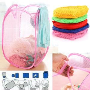 Foldable Washing Clothes Pop up Hamper Laundry Mesh Basket pictures & photos