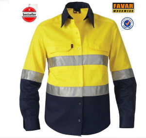 Long Sleeve 100% Cotton Drill Hi Vis Wholesale Safety Shirts pictures & photos