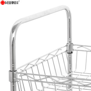 Adjustable 3 Tiers Chrome Metal Kitchen Basket Trolley with Wheels pictures & photos