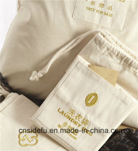 Promotional Natural Cotton Canvas Drawstring Hotel Laundry Bag pictures & photos