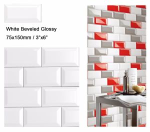 "3""X6""/7.5X15cm White Glossy Bevel Subway Tiles for Bathroom and Kitchen pictures & photos"